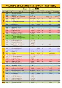 Pravidelné aktivity únor- červen 2015 new